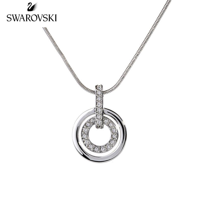 Genuine Swarovski  simple elegant shiny Circle double-ring lollipop pendant ladies  Fashion clavicle Chain Silver 681251