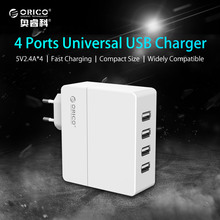 6.8A Desktop USB Charger,ORICO 4 Ports USB Wall Charger 34W for iPhone 7 Mobile Phone Smart Charger EU/US/UK/AU Plug Available(China)