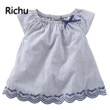 2017summer toddler fashion hawaiian dress shirt kids clothes knitted sleeveless plaid baby shirt school blouse girls shirts free(China)