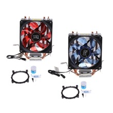 2 Heatpipe 95W CPU Cooler 3-Pin 90mm LED Fan Aluminum Heatsink For i3 i5 AM2 AM3 Blue/Red High Quality C26