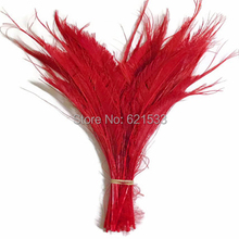 Peacock Feathers,100Pcs/Lot!12-16inches 30-40cm long- RED Bleached Peacock Swords Cut Wholesale Feathers,red feathers(China)