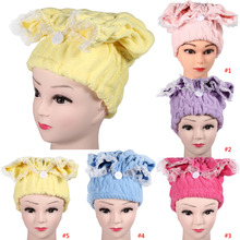 Womens Super Absorbent Microfiber Hair Drying Towel Bathroom Quickly Dry Hair Wrap Hat Towels Cap Girls Bathing Tool