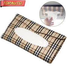 Buy TopAuto Car Tissue Box Holder Sun Visor PU Leather Lattice Cover Stowing Tidying PU Paper Napkin Holder Car Interior Accessories for $9.99 in AliExpress store