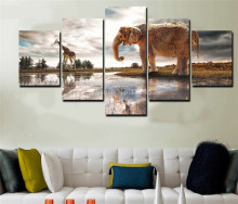 5 Pcs HD Printed Elephant And Giraffe Painting Canvas Print Room Decor Print Poster Picture Canvas For Living Room Unframed