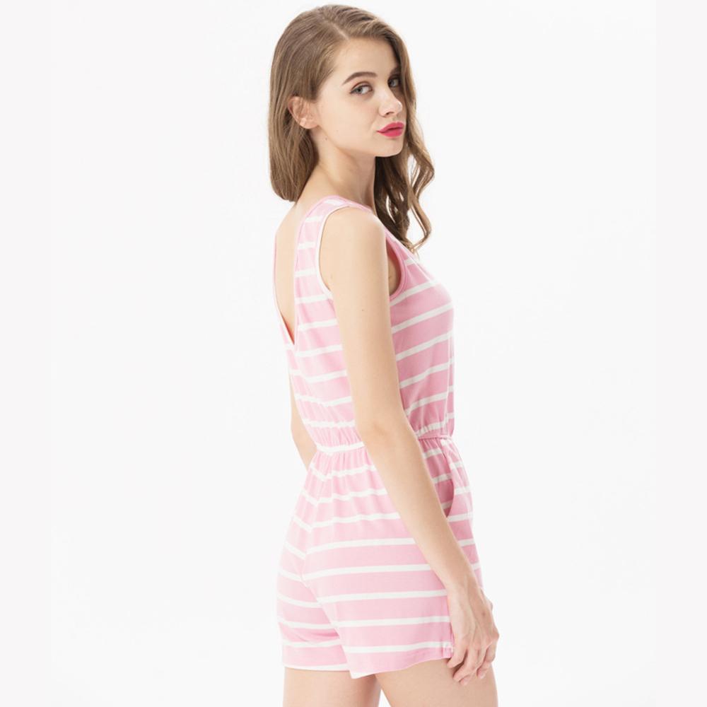 Siskakia mody młodzieżowej Letnie nastolatek dziewczyny Playsuit Przebrania paski patchwork slim fit krótkie elegancki 100% bawełna odzież różowy 26