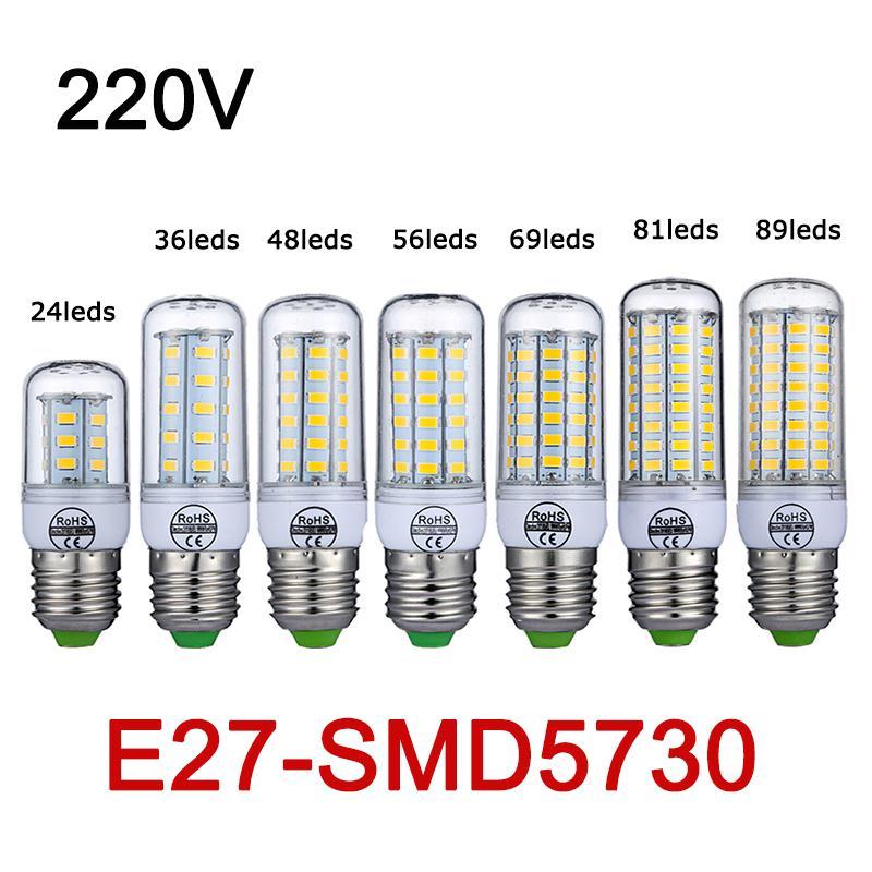 E27 LED Lamp 220V 240V SMD5730 LED Bulb 24/36/48/56/69/81/89LEDs Bombillas Corn Light For Home Chandelier Lights<br><br>Aliexpress