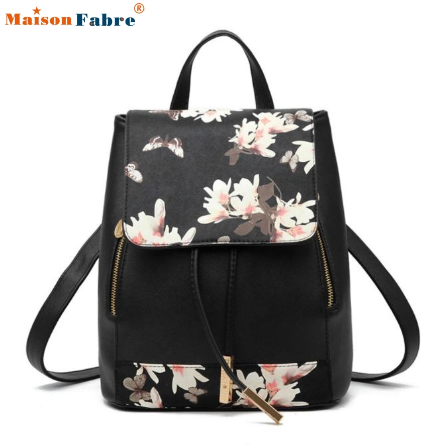 New Fashion Women Backpack 2017 New Causal Floral Printing Leather Backpacks For Girls Casual Bagpack Mochila<br><br>Aliexpress