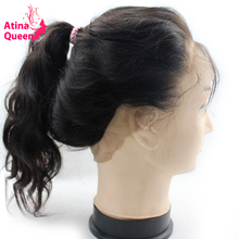 Atina Queen Peruvian Body Wave 1 Piece 360 Lace Frontal Closure Band with Baby Hair Pre Plucked Remy Human Hair Bundle(China)