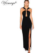 Vfemage Womens Sexy Cut Out Backless Clubwear Cross Strap Chic Party Evening Prom High Slit Maxi Long Sheath Dress 6079(China)