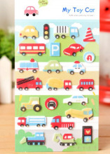 ZY DIY Pretty Cartoon Toy Car Printed Felt Sticker DIY Nonwoven Felt Fabric