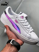 417be654ad45 ... fashion styles Puma Basket Platform Rainbow Women s Badminton Shoes  362223-05 Purple White Color ...