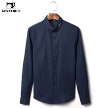 KENNTRICE Shirt Men Silk Fabric Brand-Clothing Dress Shirt High Quality Gem Button Classic Twill Business Plus Size Men Shirt