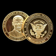 100 pcs The Brand new president of United state Barack Obama silver 24k real gold plated American  souvenir coin