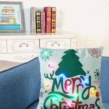 Christmas Pillow LED Lights Printing Linen New Color Lights Christmas Pillow Christmas Home Decorations(China)