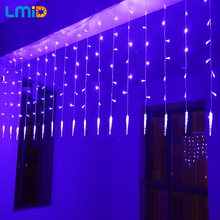 LMID Christmas Lights Outdoor 2M Drop 0.6M Led Curtain Icicle String Lights New Year Wedding Party Garland Light(China)