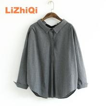 New spring autumn women's plus size blouse turn-down collar stripe tops long-sleeve shirt office blusas black gray,#L234-0280