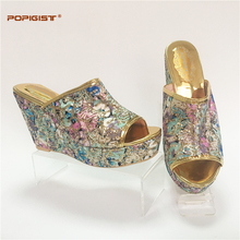 Nigeria bling shining wedges Italian design shoes not matching bag set Multi-Blue color special design women shoes fashion 2017(China)