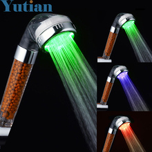 Free Shipping Led shower Tourmaline SPA Anion Hand Held Bathroom Led hand Shower Head Filter Hand Shower Pressurize Saving Water(China)
