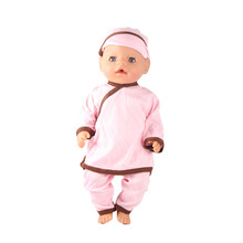 New Directly Factory Price 43cm Baby Born Zapf Doll Clothes Pink Pajamas With Hat Doll Accessories Children Best Gift ZD573(China)