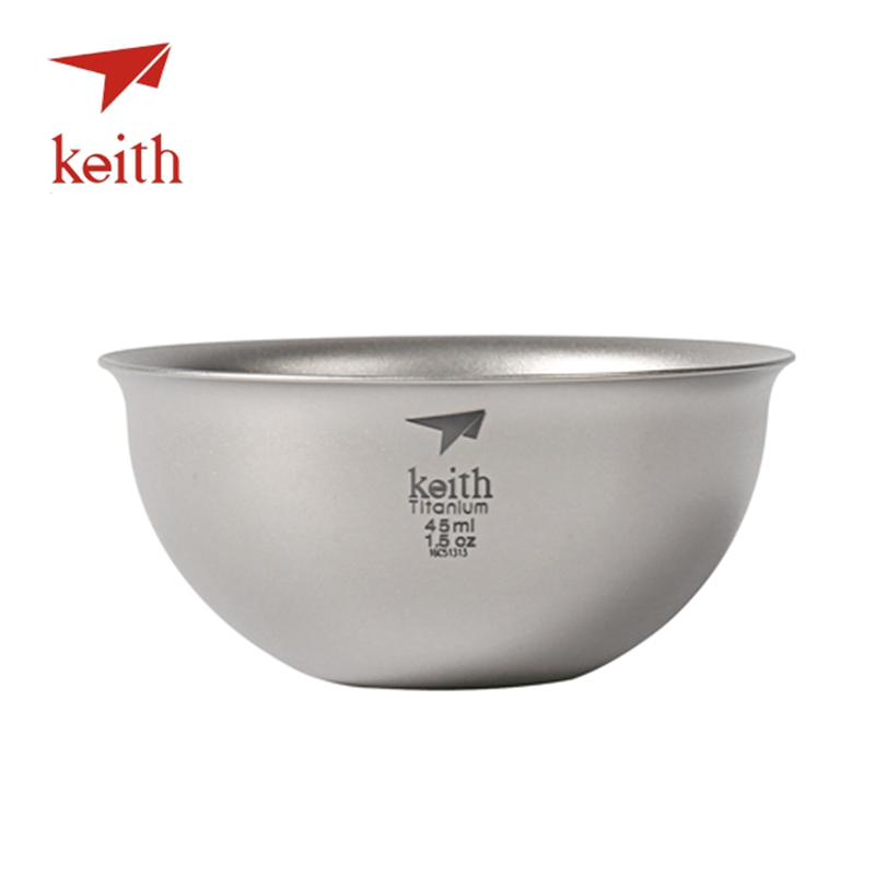 Keith Pure Titanium  Chinese kongfu Tea Cup Double Wall Water Mug Outdoor Travel Hiking Picnic Tableware Utensils Only 22g<br>