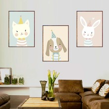 Cute Cartoon Animal Deer Bear Nordic Dog Poster Wall Art Print Picture Canvas Baby Kawaii Kids Room Home Decor No Frame