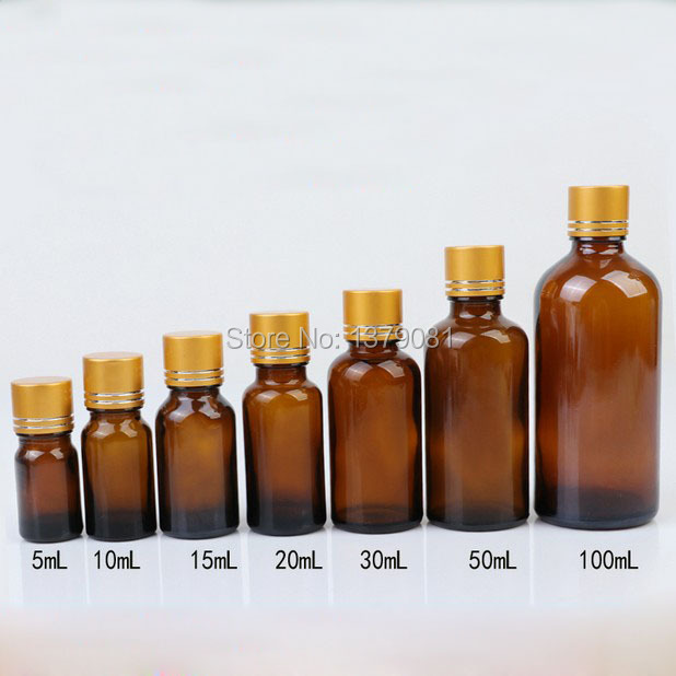 5ml,10ml,15ml,20ml,30ml,50ml,100ml Amber Glass Bottle With Gold Screw Cap Tangent Line,Essential Oil Bottle DIY Sample Vials<br>