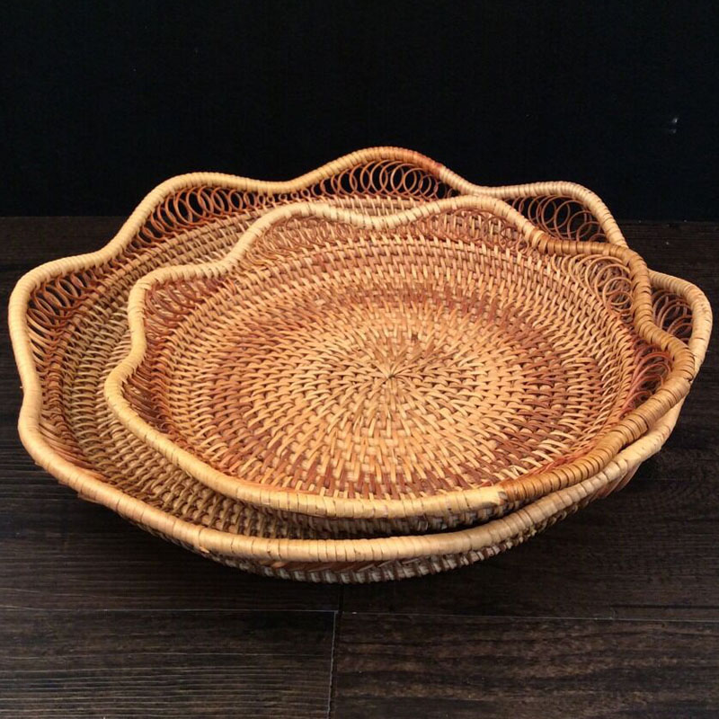 home dried fruits storage tray woven rattan basket bread rattan fruit basket set stand snack food dishes and plates sets party(China (Mainland))