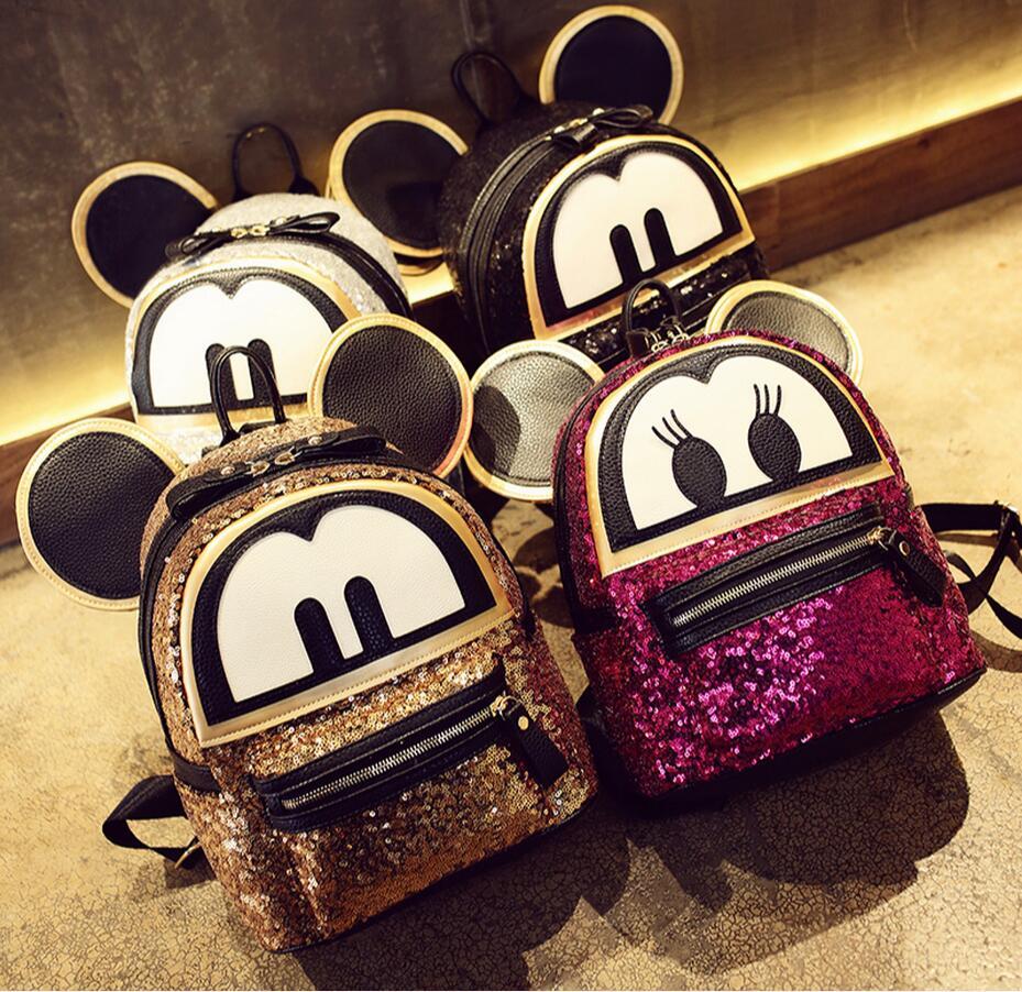 Super 3D Cat Ears sequins Mickey bags Backpack pu leather women Cute Cartoon Girls School Bag Mochila Femin Travel Books mous<br>