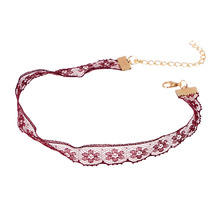Vintage Jewelry Sexy Wine Red Crochet Lace Choker Necklace for Women Handmade Hollow Out Flower Fabric Bridal Collar Collier