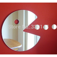 Boy Kid's Gift Acrylic Mirror Catoptric Sticker Pac Man Game Sign Cartoon 3D DIY Wall Stickers Home Room Door Decoration