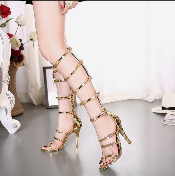 MANMITU4-Free shipping New Adult open toe summer heels women sandals boots fashion cut-outs buckles shoes footwear gold 11cm<br><br>Aliexpress