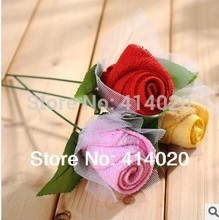 Wholesale Pvc Box Rose Solid Flower Wedding Gift Valentine's Day Party Giveaway Home Use Towel
