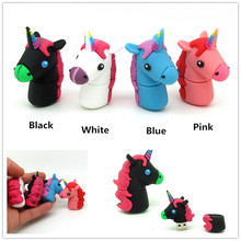 cute black blue pink Unicorn usb flash drive disk mini gift memory stick pendrive Pen drive personalized 4GB 8GB 16GB 32GB(China)
