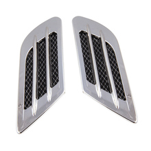 New 2 pcs Car Styling DIY Car 3D Shark gill Side Air Vent Fender Cover Hole Intake Duct Flow Grille Decoration Sticker(China)