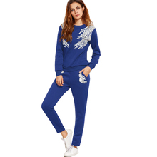 Casual Loose Tracksuit Women 2017 Women's Suits Long Sleeve Outwear Ladies's Tracksuits Wings Printing 2 Piece Set Women FL330(China)