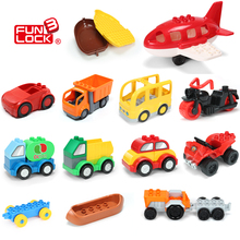 Funlock Duplo Blocks Toys City Transportation Series Vehicle Bricks Parts Car Bus Ship Jeep Truck Plane Kids Gift