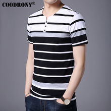 Buy COODRONY Pure Cotton Short Sleeve T-Shirt Men Brand Clothing 2017 Spring Summer New Fashion Striped Henry Collar Tee Shirt S7632 for $14.28 in AliExpress store