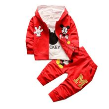 3 Piece Children's Clothing Set Autumn Winter 2017 New Cotton Long Sleeve Zipper Baby boys Clothes Mickey Coat Hooded T2222