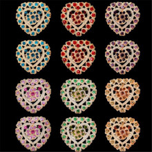 Wholesale Pack of 12 pieces Multicolor Heart Shape Clover Brooch Lapel Pins Hijab Pins Collar Brooches Muslim For Women Gifts