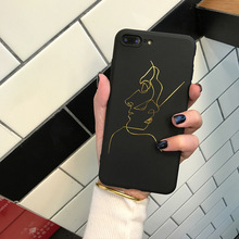 SZYHOME Phone Cases for IPhone 6 6s 7 Plus Case Golden Lines Funny Graffiti TPU Silicon for IPhone X Phone Cover Case Capa Coque(China)