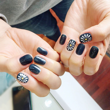 24 pcs Sunflower Oval Fake Nails Short Black Solid Nail Tips with Design in acrylic box gel color chart nep nagels(China)