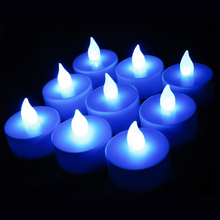 100pcs/lot LED Blue Candle Flickering Flicker Tea Candles Tea lights Light Flameless Birthday Candle(China)