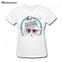2017 Funny Women T Shirts Fashion Sleeve 100% Cotton Kitten listening to music Printed Brand Clothing Female Top Tees WTD041(China)