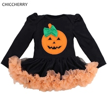 Pumpkin Black Baby Girl Halloween Costumes Lace Petti Rompers Dresses Jumpsuit Fantasias Infantil Girls Clothes Infant Clothing(China)