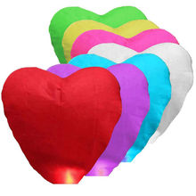 1 PC 7 Colors Cute Love Heart Sky Lantern Party Favors For Birthday Party Flying Wishing Lamp Hot Air Balloon Kongming Lantern(China)