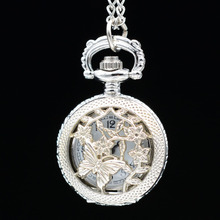 Retro Vintage Bronze/Silver Butterfly in Flowers Lovely Small Quartz Pocket Watch Necklace Pendant Chain Mens Womens Gifts