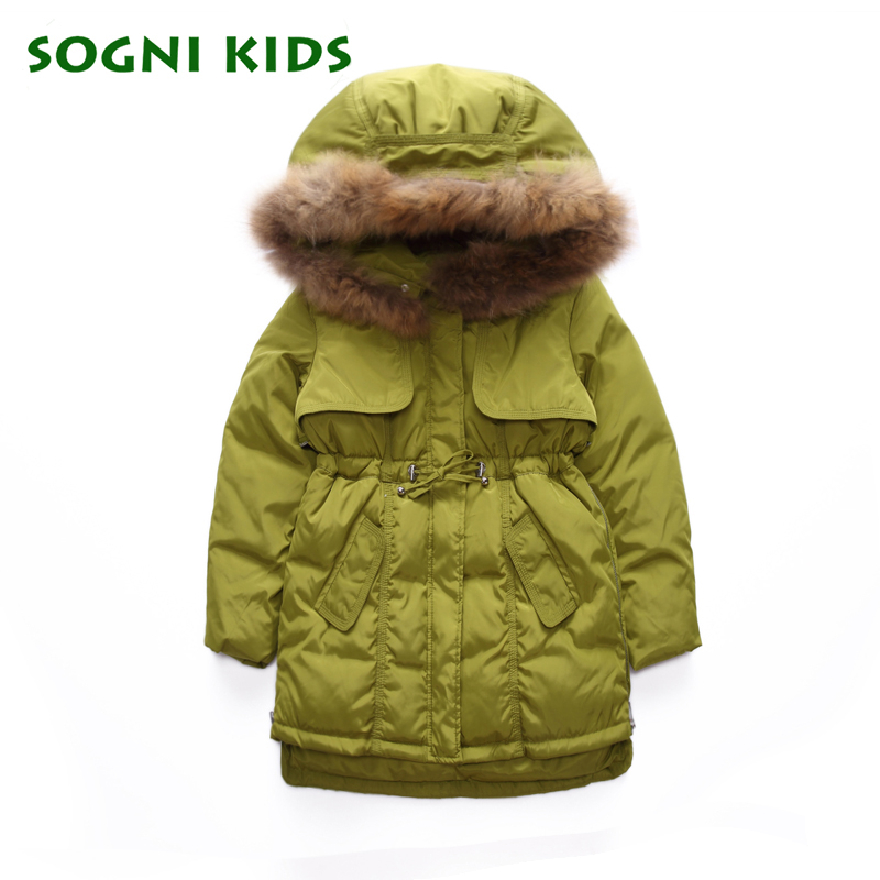 Inverno Girls Outwear Children Girls Fashion Winter Coat &amp; Parkas 3-8Y Thick Warm Down Jacket Fur Hooded Clothes Puffer Jacket<br>