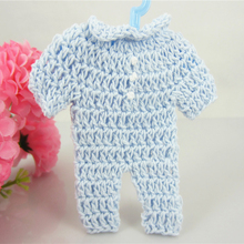 Free Shipping 12 baby shower baptism party favors miniature crochet clothing flower ribbon for decorations(China)