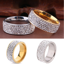 Sz8-10  Fashion Simple Golden Sliver Wedding Crystal Paved Stainless Steel  Lovers Rings Romantic Jewelry