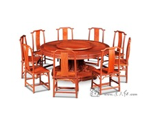 Rosewood 2.1M Round Table Set 9 person Seat Solid Wood board with truntable hotel Dining table China Classical Redwood Furniture(China)